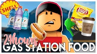I ONLY ate GAS STATION FOOD for 24 HOURS!!!! | Roblox Bloxburg | SunsetSafari