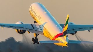 VERY CLOSE BOEING 777 DEPARTURE - Evening close up of the Triple Seven (4K)