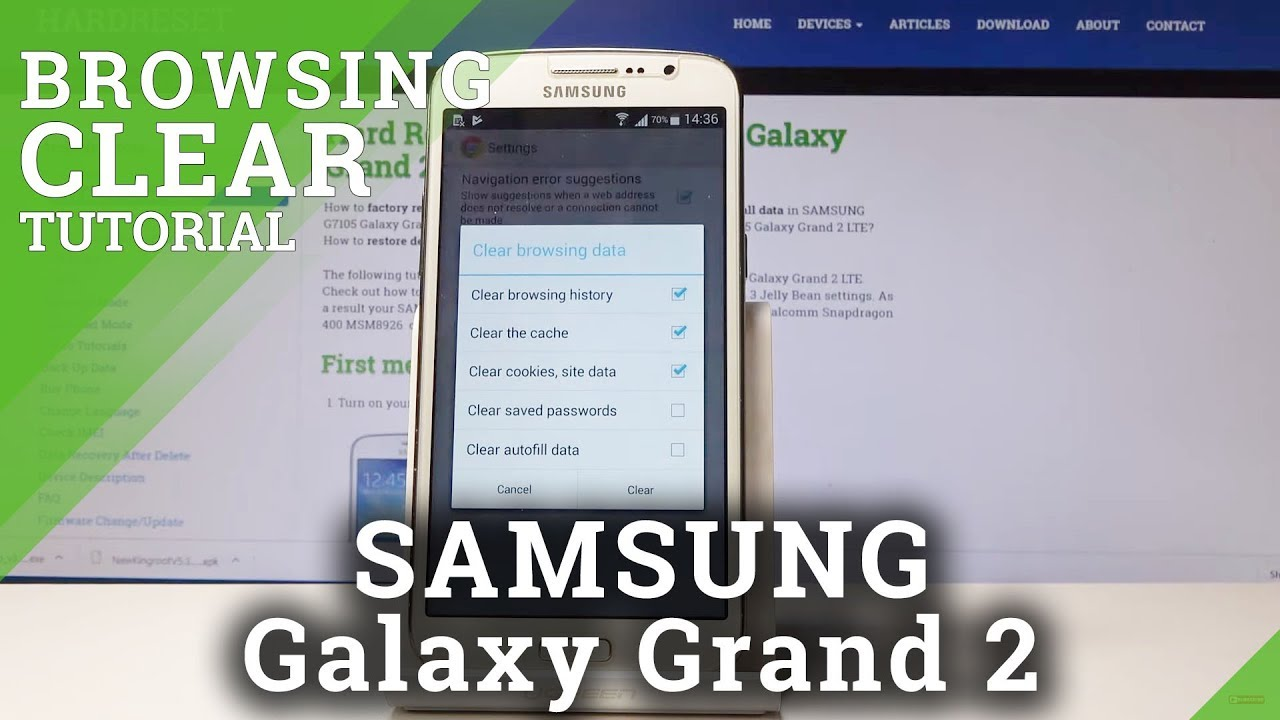 How to Clear Browser Data in SAMSUNG Galaxy Grand 2 - Delete History &  Cookies