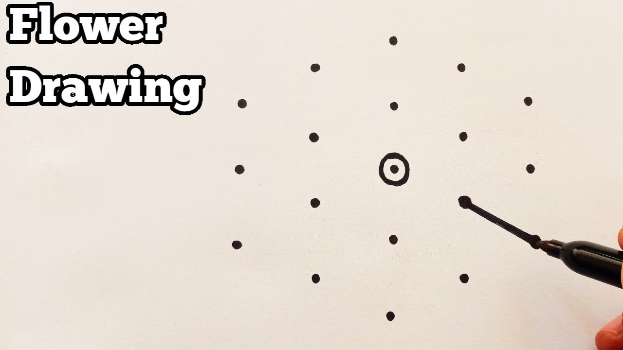 Learn To Draw Beautiful Flower With 5×3 Dots | Simple Flower Drawing Tutorial | Draw With Dots