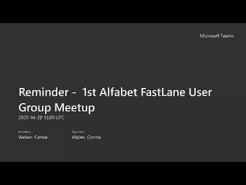 Alfabet FastLane User Group Meetup