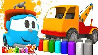 TOW TRUCK: Cartoon Trucks: LEO Junior  - PAINTING Games & Construction Puzzles!
