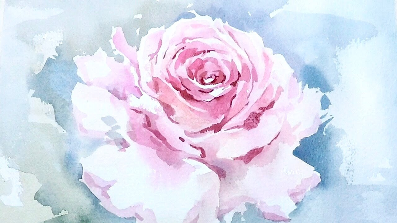 Lvl4 watercolor tutorial how to paint a rose wet on wet for How to paint a rose watercolor