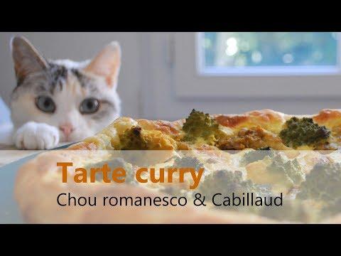 RECETTE facile & rapide - Tarte feuilletée curry, cabillaud et chou romanesco - Riche en protéines