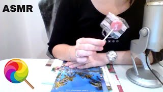 ASMR Relaxing Flipping Through Some Fliers - Soft Spoken - Page Turning - Tapping - Lollipop Licking