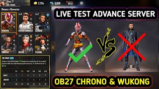 CHRONO & WUKONG Ability Live Test in Advance Server | Free Fire New Event | Chrono Ability Change