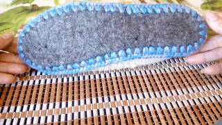 Тапочки вязаные крючком на войлочной подошве