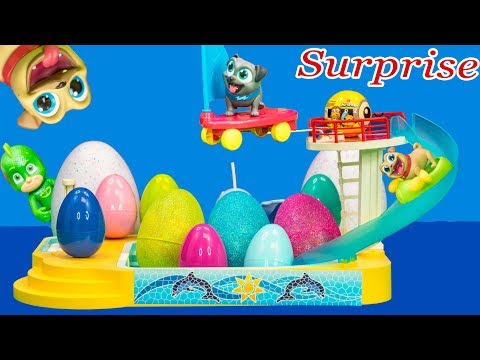 PUPPY DOG PALS Disney Surprise Egg Pool Party with Minions + Paw Patrol + Pj Masks