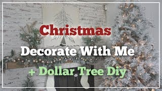 CHRISTMAS DECORATE WITH ME + DOLLAR TREE DIY GARLAND | Momma From Scratch