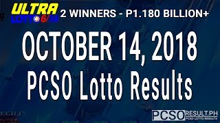 PCSO Lotto Results Today October 14, 2018 (6/58, 6/49, Swertres, STL & EZ2)