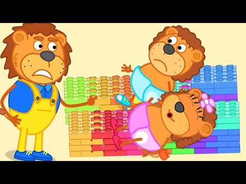 Lion Family Super Daddy Build Beds With Lego and Play With Lego Cartoon For Kids