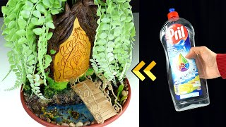 DIY Fairy Garden Door using Plastic Bottle | Build Wooden Bridge | Paper Clay Tutorial