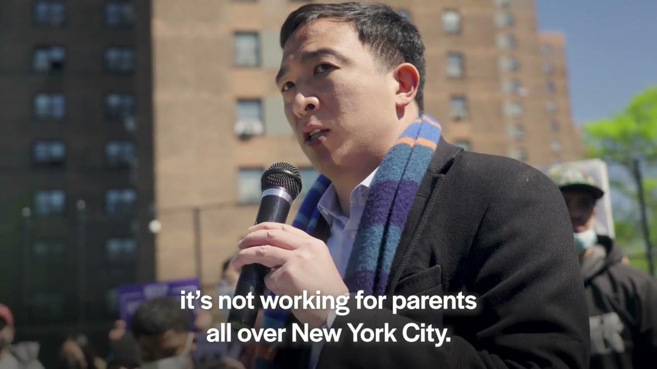 Andrew Yang rallies with parents to re-open NYC schools