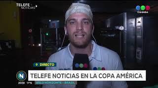 Telefe Noticias en Brasil,en la previa del partido entre Argentina va Paraguay