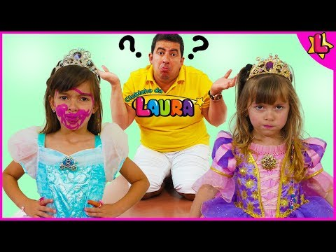 Laurinha and Helena Pretend play beauty contest for kids