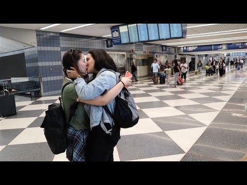 LONG DISTANCE RELATIONSHIP AIRPORT REUNION | Lesbian Couple