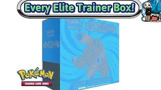 opening every elite trainer box made xy evolutions blastoise pokemon tcg unboxing