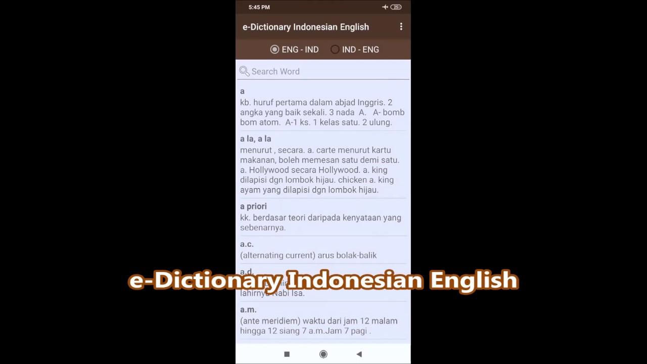 E Dictionary Indonesian English Youtube