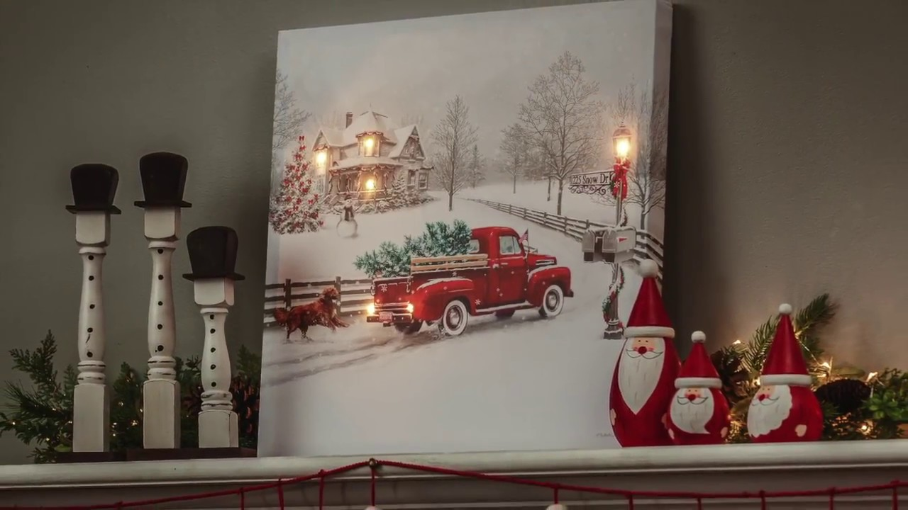 Fixing Christmas Lights To Wall : Vintage Truck LED Light-up Canvas Wall Art (6LTC6190) - YouTube
