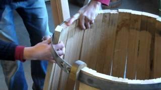 Barrel assembly at Tonnellerie Cadus in Burgundy