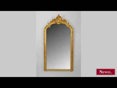 Antique French Victorian gilt wood wall mirror with shaped