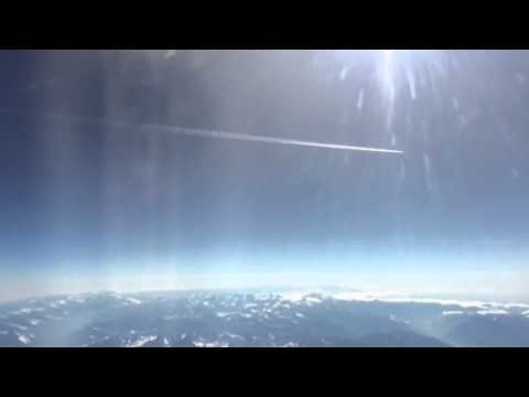 Flying to Tunisia  over Alps Mont Blanc