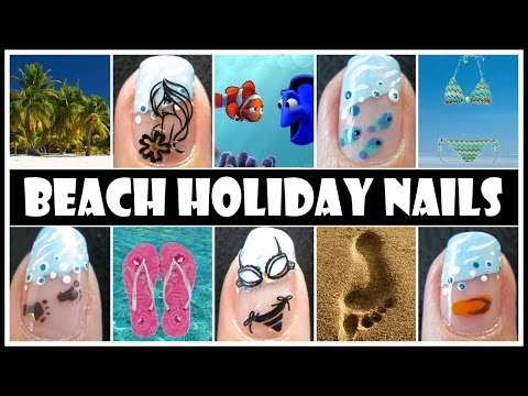 BEACH NAIL ART DESIGNS   SUMMER SPRING BREAK OCEAN HOLIDAY NAIL TUTORIAL FRENCH MANICURE EASY