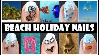 BEACH NAIL ART DESIGNS | SUMMER SPRING BREAK OCEAN HOLIDAY NAIL TUTORIAL FRENCH MANICURE EASY