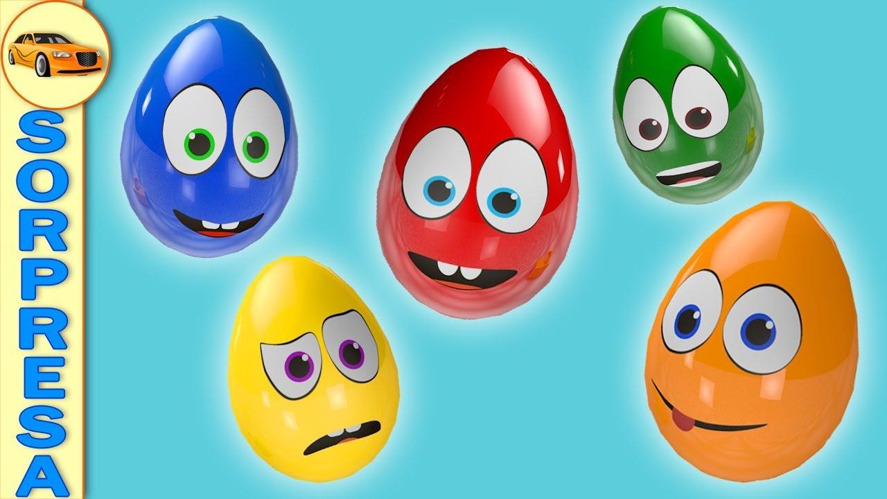 Huevos Sorpresas Aprende los Colores en Español con 5 Coches de Juquetes - Dibujos Animados