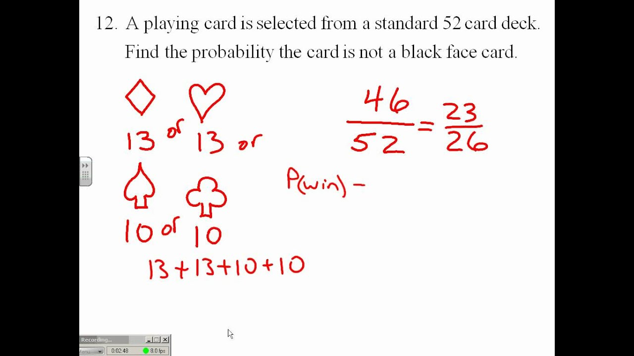 simple playing card probability 8 youtube. Black Bedroom Furniture Sets. Home Design Ideas