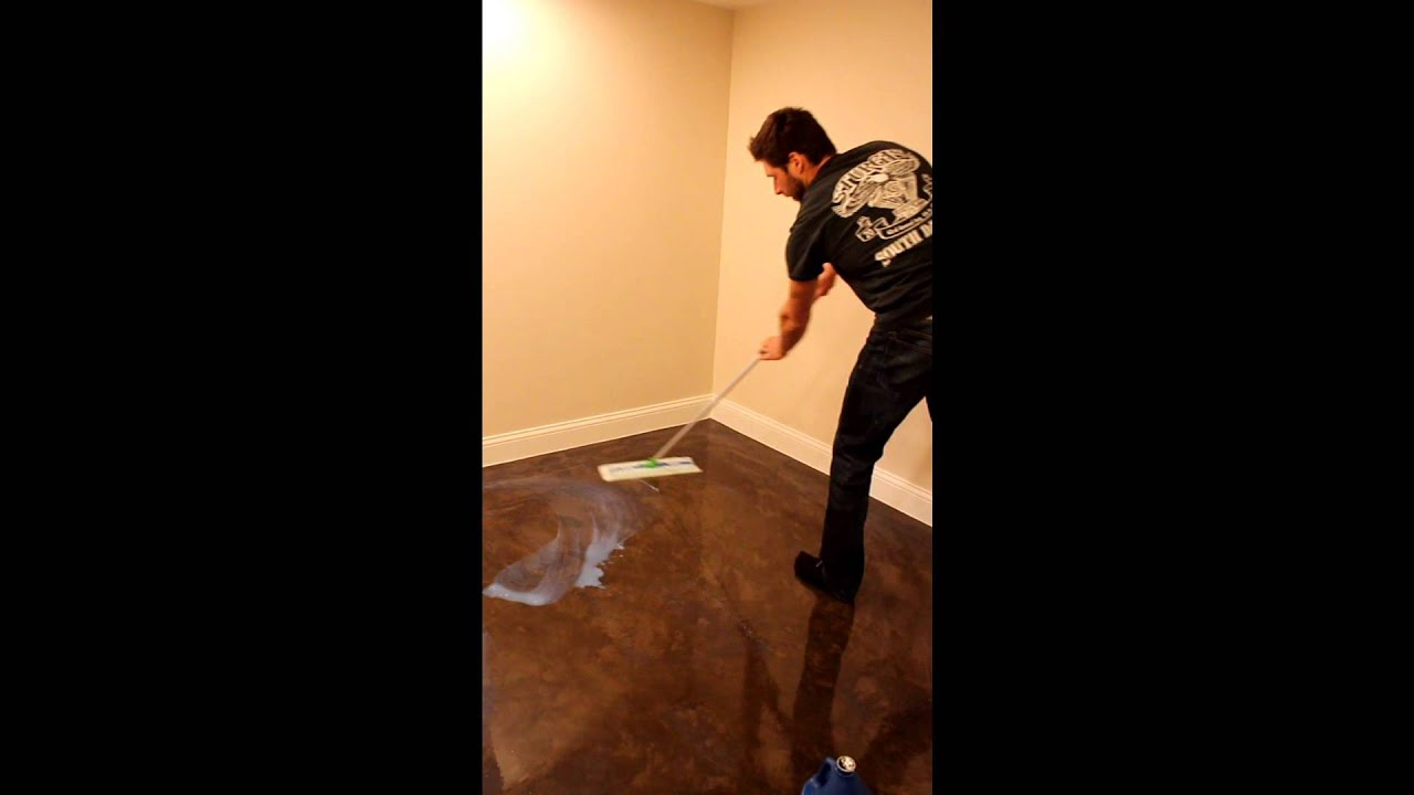 Waxing stained concrete floor youtube for Best wax for stained concrete floors