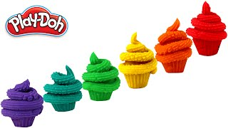 PLAY DOH Learning Colors with colorful  Play Dough Cupcakes