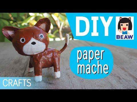 How to make a paper mache cat cartoon for kids crafts diy  / สอนทําเปเปอร์มาเช่ แมว การ์ตูน ง่ายๆ