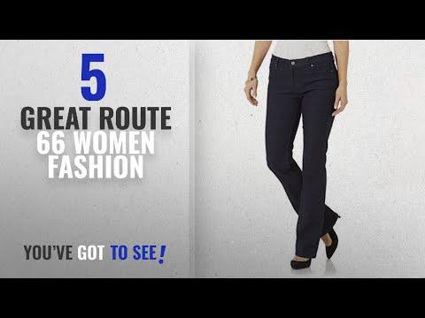 Route 66 Women Fashion [2018 Best Sellers]: Route 66 Women's Slim Bootcut Jeans - Dark Indigo Blue