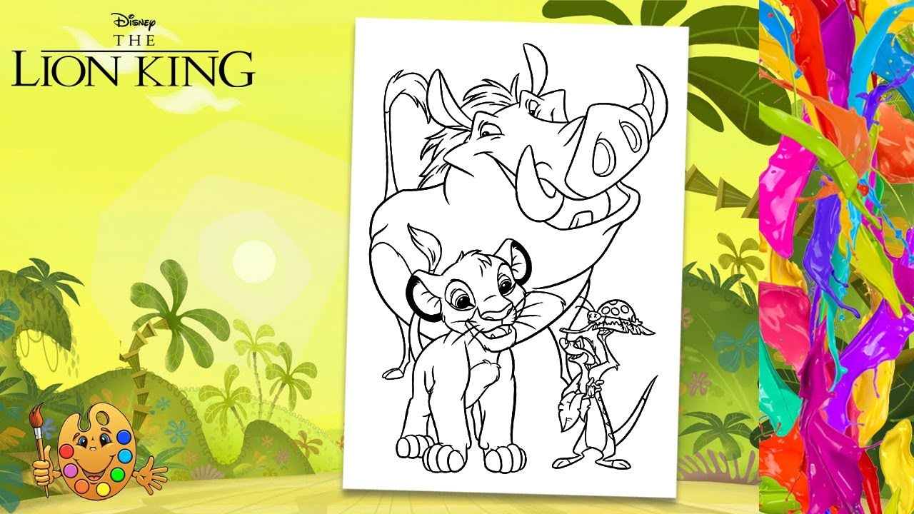 Walt Disney Coloring Pages – Pumbaa, Simba & Timon - Walt Disney ... | 720x1280