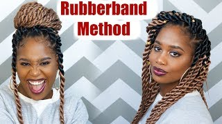 Jumbo Rope Twists (RUBBER BAND METHOD) using Ez Twin Braid Hair | MissKenK