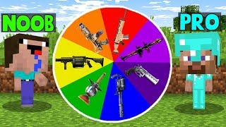 Minecraft NOOB vs PRO vs HACKER vs GOD: ROULETTE OF ARMS CHALLENGE in Minecraft | Animation