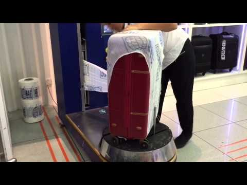 Luggage wrapping service at Heathrow airport