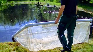 FLOATING NET CAGE FOR FISH, HOW TO BUILD A KOI CONTAINMENT IN DETAIL, NETTING TUTORIAL,BREEDING CARP