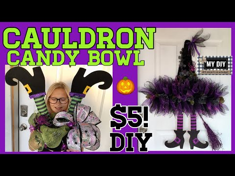 Witch's Cauldron Candy Bowl | Witch hat wreath |  Dollar Tree DIY Halloween!