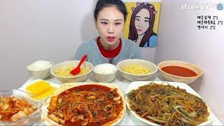미치도록 매운잡채볶음 매운해물볶음 면사리 먹방 Mukbang eating show 171001