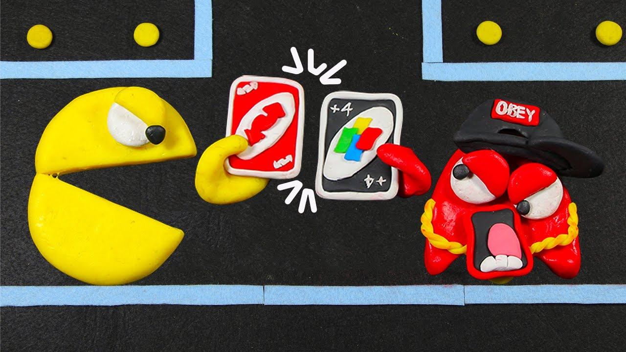 Pac-Man vs Ghost   UNO Gaming Battle   Funny Animation   Pacman Stop Motion Game