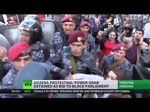 Dozens protesting 'power grab' detained as bid to block parliament