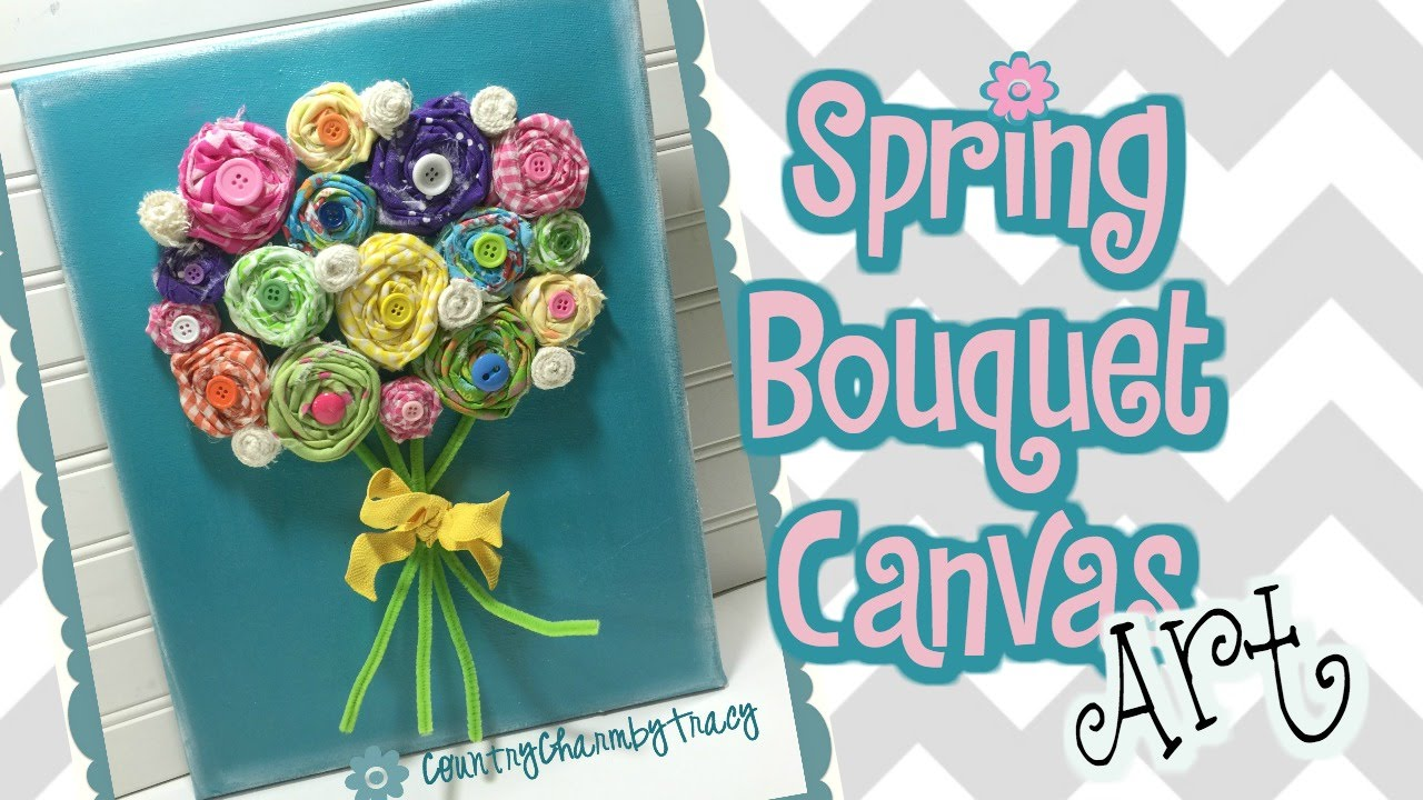 Spring Bouquet Canvas Art Fabric Rolled Flowers Fabric Rosettes