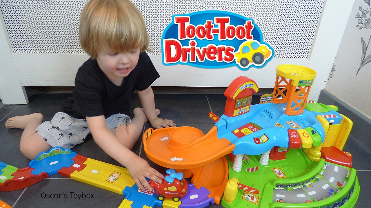 V Tech Garage : Kids playing with toys vtech toot toot drivers garage vehicles