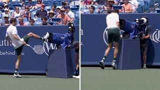 video: Watch: Daniil Medvedev kicks TV camera after crashing into it during Southern Open