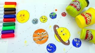 DIY How to draw and coloring Emoji Solar System Planets | What colors are planets Play doh