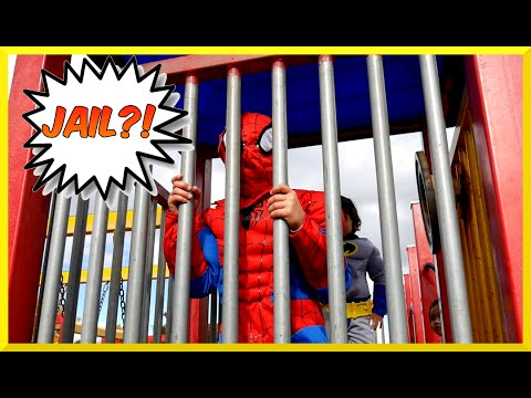 Thumbnail: Superheroes Battle BATMAN VS SPIDERMAN Goes to Jail EGG SURPRISE Playground Family Fun Playtime Park
