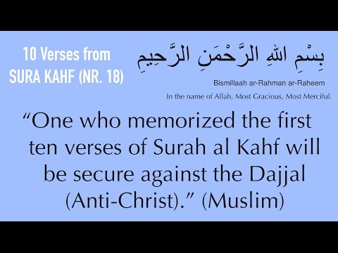 """Learn first 10 VERSES from Surah KAHF against DAjjAL (Anticrist)   """"repeated"""""""