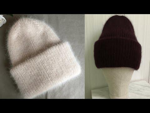 Двойная шапка для женщин спицами